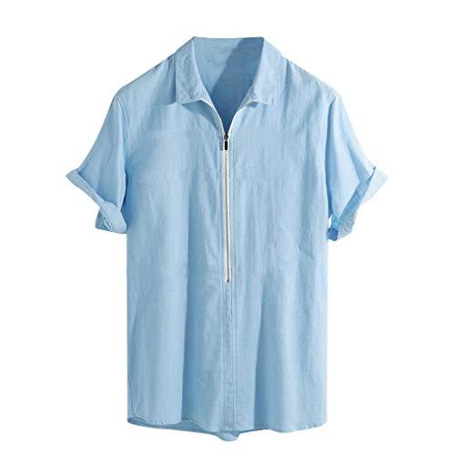 JYJM Herren Sommer Freizeit T-Shirts Baumwolle Leinen Vintage Casual Bluse Revers Kurzarm Reißverschluss Retro T-Shirts Lose Atmungsaktive Beach Tops
