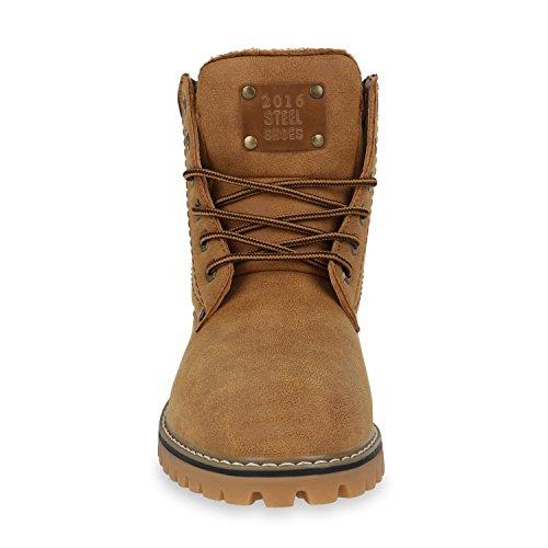 Worker Boots Herren Outdoor Schuhe Nieten Profil Sohle Braun