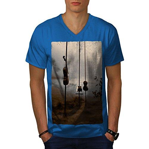wellcoda Geige Trommel Natur Musik Männer S V-Ausschnitt T-Shirt