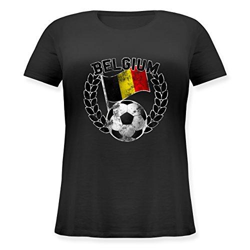 EM 2016 - Frankreich - Belgium Flagge & Fußball Vintage - Lockeres Damen-Shirt in großen Größen mit Rundhalsausschnitt Schwarz