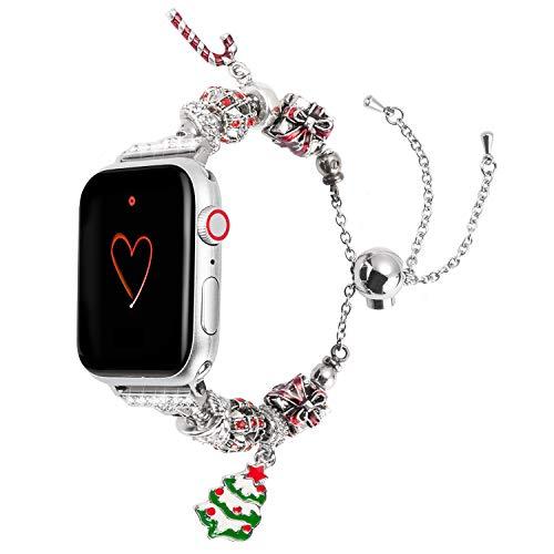 Wearlizer für Apple Watch Armband 38mm 40mm 42mm 44mm, Metall Strass Ersatz für iWatch Series 4, Series 3, Series 2, Series 1 (38mm 40mm, Weihnachtsbaum) (Strass-perlen-armband-uhren)
