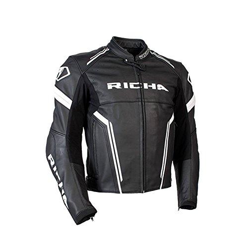 Richa Monza da uomo moto Race Track in pelle di alta qualità, colore: Nero/Bianco