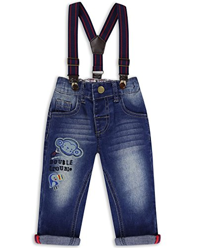 The Essential One - Baby Kids Boys Jeans With Braces - Maxie Monkey - 12-18 Months - Blue - EOT227