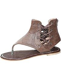 NiSengs Zehentrenner Sandalen Damen Sommer Flacher Boden Flach Sandaletten  Zehensandalen Römischen Riemchen Sandalen Ankle Flachriemen Schuhe 9873c1ac17