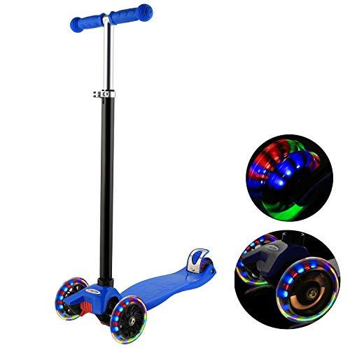 WeSkate Kinderscooter Kinderroller, höhenverstellbarer und Abnehmbarer Lenker Kick Roller Tret-Roller mit PU Rädern, mit 4-blinkenden Rädern, 2-Rädern Hinterbremsen (MG1/Dunkel Blau)