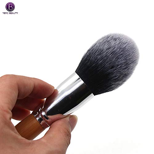 Lidschatten Pinsel einzigen großen Bambusgriff Flamme erröten Pinsel Schönheit Make-up weiches Haar Pulver lose Puderpinsel (B)