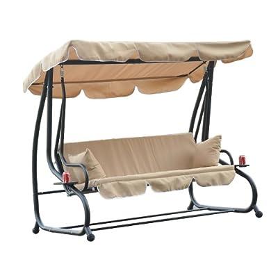 Outsunny Hollywoodschaukel für drei Personen, mit 2 Kissen, Dreisitzer-Hängeschaukel von Manufactured for MHstar bei Gartenmöbel von Du und Dein Garten
