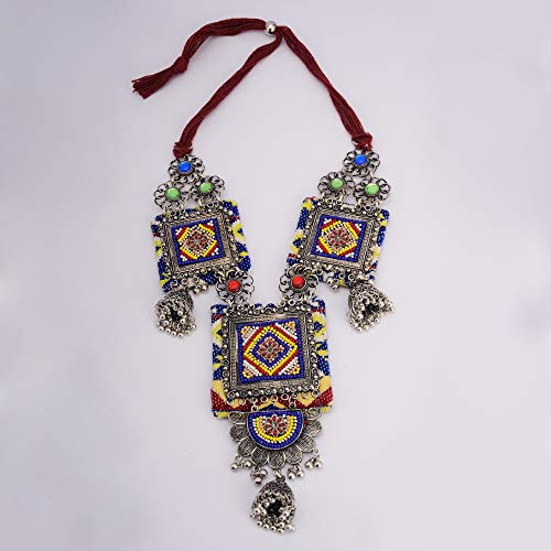 Zephyrr Afghani/Turkish Statement Long Necklace Jewelry Silver Tone Casual Jhumki Jewelry for Women