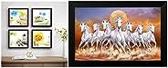 SAF Designer Set of 4 Up Textured Painting (19 X 19 Inches, SAF_Set4_2) & 6802 7 Lucky Running Horses Fram