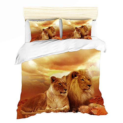 ZHYY Bettwäsche Bettlaken Bettbezug Kissenbezug 3 stücke Königin Tröster Sets 3D Digitaldruck Lion King Heimtextilien (Farbe : #4, Size : EU Double-200×200cmm) (3d-bett Tröster Set Königin)