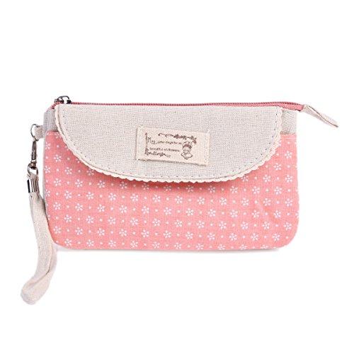 Damara Damen Feine Blumen Segeltuch Geldtaschen Mit Süß Spitze Borte,Pink (Spitzen-geldbeutel-handtasche)