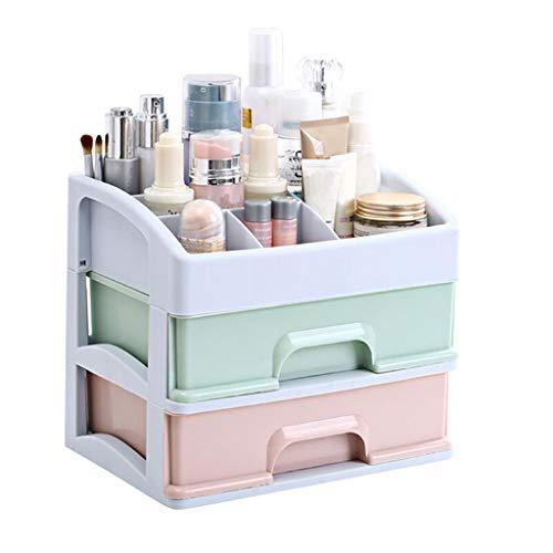 XGG Beautify Acrylique Cosmétique Organisateur Cas Table De Stockage Cadre De Support pour Maquillage - Support De Boîte De Vanity Clair avec 2 Tiroirs,B