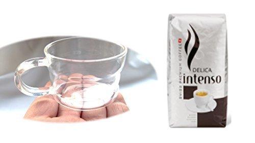 Delica Intenso ganze Bohnen + Design Glastasse, Kaffeetasse, Kaffee, Tasse, Glas, Espresso 100ml, 4er Pack im Geschenk Karton