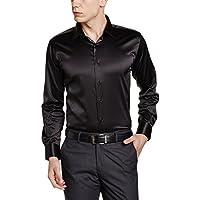 V Dot by Van Heusen Van Heusen Men's Satin Black Shirt (Size 42)
