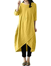 28f0ee112f Xmiral Women Dress Loose Plus Size Vintage Long Sleeve O-Neck Tunic Baggy  Long Maxi