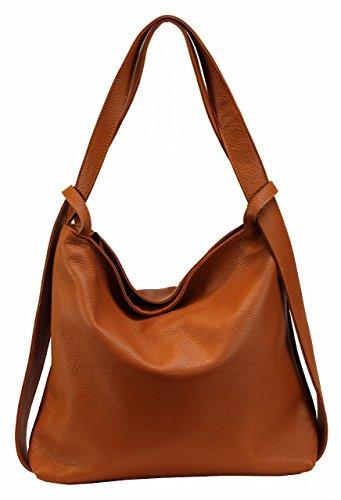 Bozana Bag Mia Cognac Backpacker Designer Rucksack Ledertasche Damenhandtasche Schultertasche Leder Italy Neu (Schultertasche Designer)