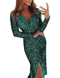99native Damen Sexy Abendkleider Elegant Pailletten Wrapped Asymmetrisch Cocktailkleid Tief V Ausschnitt Glitzer Abendkeider Fransen Langarm Partykleider