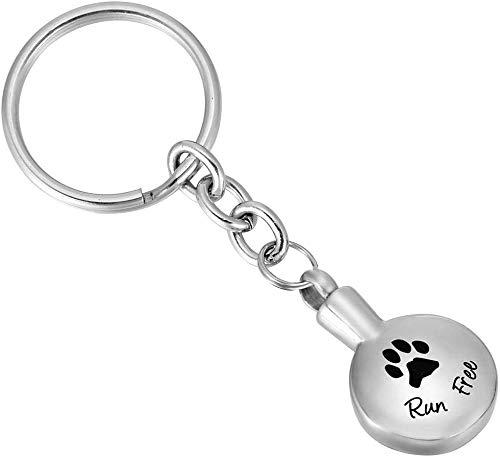 XRZY Pet Asche Anhänger, Feuerbestattung Anhänger, Edelstahl Pet Paw Herz Feuerbestattung Schmuck Andenken Memorial Urne Schlüsselbund für Hund Asche Schlüsselanhänger -