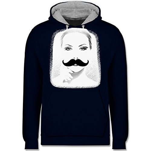 Hipster - Frau Moustache - Kontrast Hoodie Dunkelblau/Grau meliert