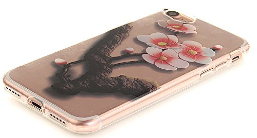 Nnopbeclik Silikon Transparent Hülle Für Apple Iphone 7, Ultra Slim Weich TPU Cover Case Neu Design Super Durchsichtig Hohl Luxus Bling Blume Case Etui, Schutzhülle Muster Glänzend Glitzer Strass Kris #22