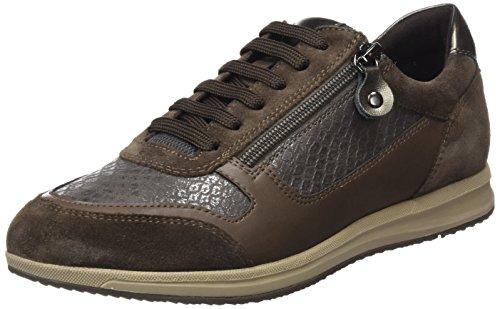 Geox Damen D Avery A Low Top Sneaker, Braun (Smoke Grey/Chestnut), 40 EU (7 UK) (Geox-schnür-sneakers)