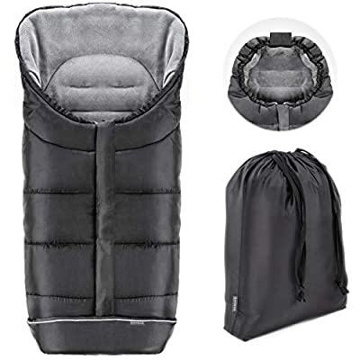 Zamboo Saco de invierno Universal para cochecito y silla de paseo | Protección antideslizante, forro polar térmico Deluxe, capucha tipo momia, reflectores y bolsa | Negro/Gris