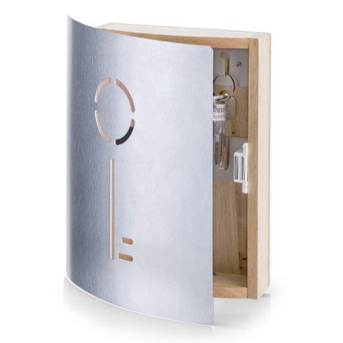 Zeller 13846 Schlüsselkasten Schlüssel, Gummibaum/Edelstahl, ca. 21,5 x 6 x 24,5 cm