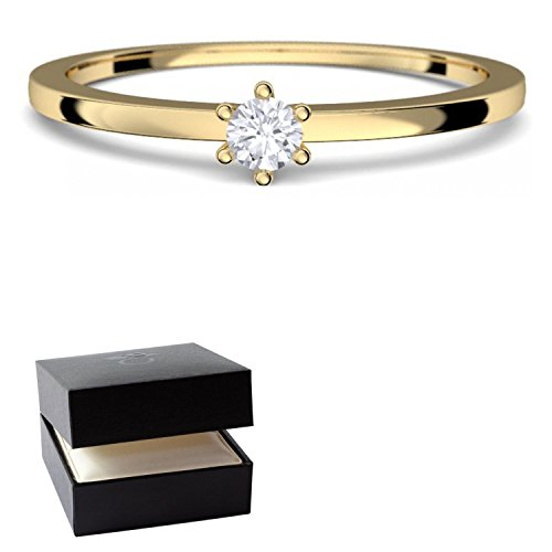 Goldring Damen 585 Verlobungsringe Gold Diamant 0,05 Carat H/si **sehr gute Qualität** +inkl. Luxusetui+ Diamantring solitär schmal dünn Goldring Diamant Ring Gold Diamantring Gelbgold FF50GG585BRFA50 (Diamant-ring Gelb-gold)