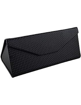 TRIXES Estuche Símil Negro Plegado como Prisma Triangular para Gafas de Marcos Pequeños y Medianos