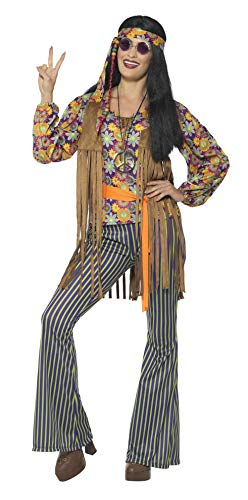 Smiffys Damen 60er Jahre Sängerin Kostüm, Oberteil, Weste, Hose, Gürtel und Kopfband, Größe: 36-38, 44681 (Sängerin Kostüm)