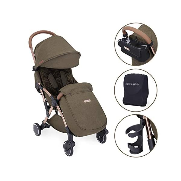 Ickle Bubba Globe Prime Baby Stroller | Lightweight and Portable Stroller Pushchair | Folds Slim for Ultra Compact Storage | UPF 50+ Extendable Hood and Baby Carriage Accessories | Khaki/Rose Gold Ickle Bubba ONE-HANDED 3 POSITION SEAT RECLINE: Luxury baby stroller suitable from birth to 15kg-approx. 3 years old; features luxury soft quilted seat liner, footmuff, cupholder, buggy organiser, storage bag and rain cover UPF 50+ RATED ADJUSTABLE HOOD: Includes a peekaboo window to keep an eye on the little one; extendable hood-UPF rated-to protect against the sun's harmful rays and inclement weather ULTRA COMPACT AND LIGHTWEIGHT: Easy to transport, aluminum frame is lightweight and portable-weighs only 6.4kg; folds compact for storage in small places-fits in aeroplane overhead; carry strap and leather shoulder pad included 1