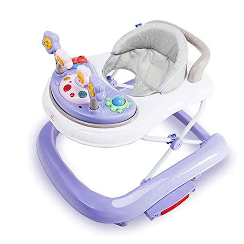 LJXWYQ Lauflernhilfe Player - Multifunktionaler Variabler 2-in-1-Schaukelstuhl, U-förmig, zusammenklappbar mit Musik, Überrollschutz, 3 höhenverstellbare Laufhilfen für Babys von 6 bis 18 Monaten,E