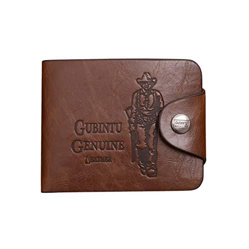 FENICAL Portafoglio Uomo con Cerniera Tasca Vintage Cuoio Genuino Flip Slim fermasoldi Porta Carte Trifold Short Purse