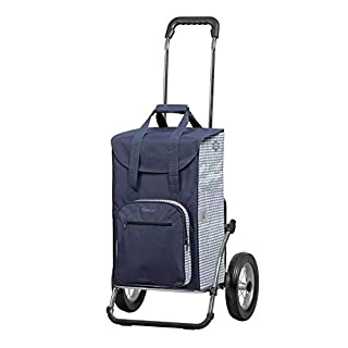 Andersen Royal Shopper Shopping Trolley with Bag Aluminium or Steel Frame Folding blue-white