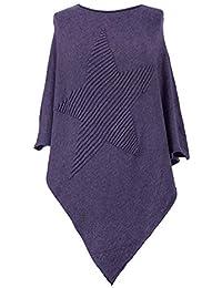 03402a75539327 Gracious Girl Damen Italienisch Lagenlook Quirky Weicher Knit-gewellter  Stern Poncho Cape Wrap Kaftan Pullover Jumper…