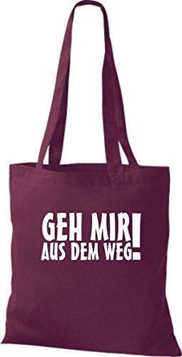 ShirtInStyle Stoffbeutel Geh Mir Aus Dem Weg! Fun Beutel Baumwolltasche Beutel, diverse Farbe burgundy