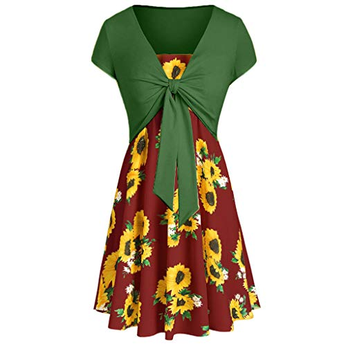 Rockabilly Kleider Damen Abendkleider Elegant für Hochzeit Frauen Knielang Kurzarm Plus Size Sommer Sexy Saum mit V-Ausschnitt Rüschen Party Festlich Vintage Kleid (S, C)