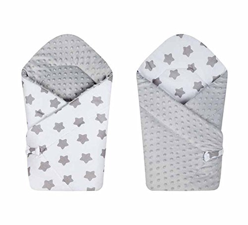 BlueberryShop Reversible Dot Popcorn Minky Fleece Cotton Swaddle Wrap/Blanket for Newborn Baby, White Grey