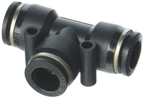 sourcingmap® Pneumatische 12 mm bis 12 mm One Touch T End Stecker, 3 Wege Quick Fittings Schwarz