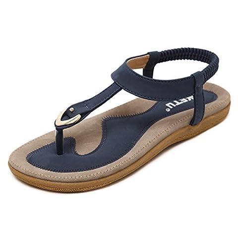 Damen Sandalen, Gracosy Sommer Sandals Flach Zehentrenner Böhmischer Stil T-Strap Flats Offene Schuhe Strand Flip Flops Blau