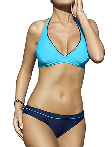Ewlon Palm Beach comodo e bellissimo bikini di due pezzi perfetto per nuotare e prendere il sole blu scuro-blu chiaro