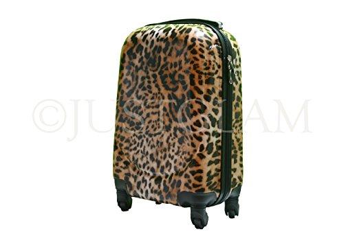 Maleta cabina 4 ruedas trolley cascara dura adecuadas para vuelos de bajo cost art leopardo