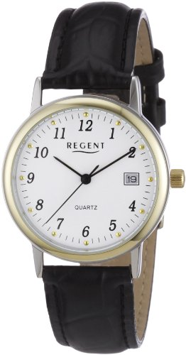 Regent 11120096 - Reloj analógico de cuarzo para hombre, correa de cuero color negro