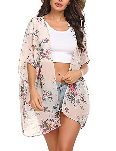 ADOME Bikini Cover Up Chiffon Kimono Cardigan Floral Strandmode 3/4-Ärmel Sommerkleid Blumen Strandponcho Strandkleid -