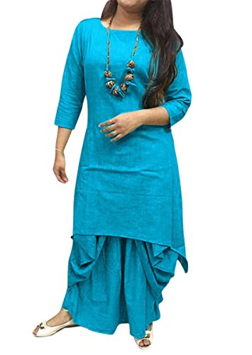 Holyday Pure Rayon Dhoti Kurti For Women Party Wear (Sky Blue, Medium)