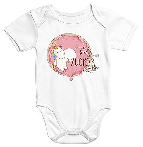 Baby-Body Einhorn auf Donut Ich bin so süß ich könnte Zucker pupsen kurzarm Bio-Baumwolle Moonworks® weiß 3-6 Monate