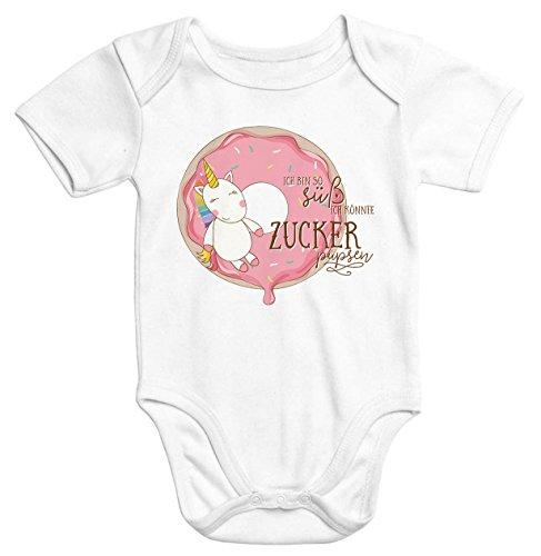 Baby-Body Einhorn auf Donut Ich bin so süß ich könnte Zucker pupsen kurzarm Bio-Baumwolle Moonworks®