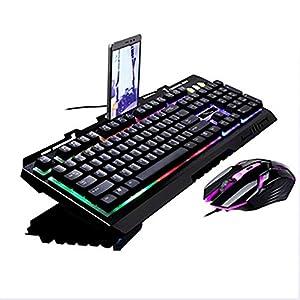 WXGZS Gaming-Tastatur/Maus-Set, Regenbogen-Hintergrundbeleuchtung Ergonomische USB Gaming Keyboard + 2400DPI Key Optische LED USB-Spiel-Maus Metallplatte Schwarz