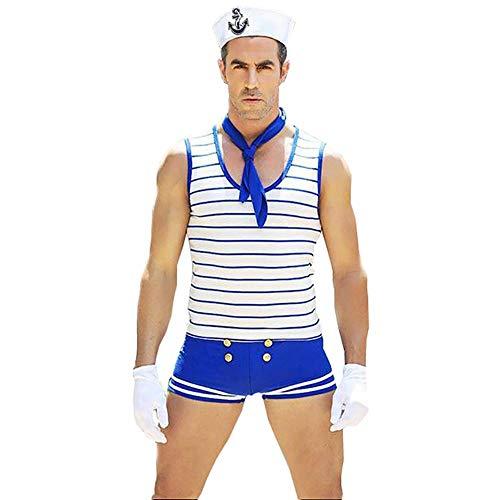 VENI MASEE Männer Sexy Sailor Kostüm Outfit(1 Stück) (Freesize, Blau) (Sexy Männliche Sailor Kostüm)