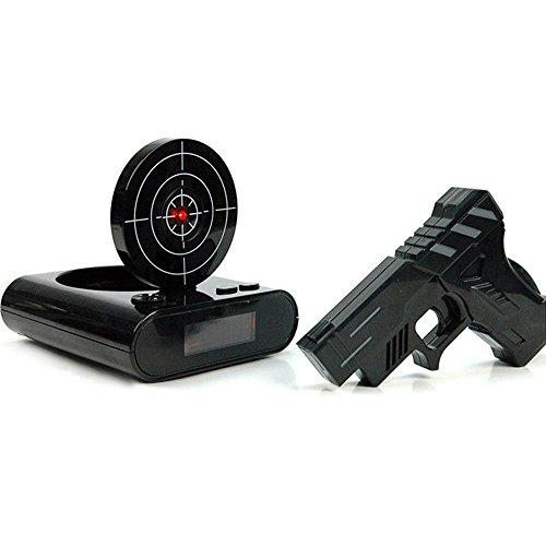 z mit Deckel, Lustiger Cooler Wecker Batteriebetriebene Radiofunktion Snooze Funktion mit Spielzeugpistole (Cooler Spiele)